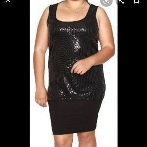 Libian black sequin Fitted tank round neck dress